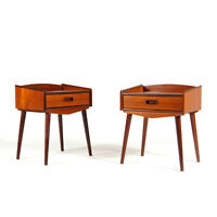 Pair Retro Vintage Danish Teak Bedside Tables Cabinets Drawers Scandinavian 70s