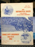 1953 AMA Motorcycle Races Program Dodge City Speedway Harley, BSA, Bobby Hill