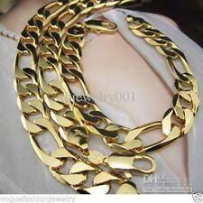 Mens 24K Yellow Gold Filled Huge Figaro Chain Curb Link Necklace & Bracelet Set