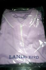 NEW! LANDS END WOMENS OPEN NECK COLLAR POLO SHIRT FROSTED LAVENDAR LARGE