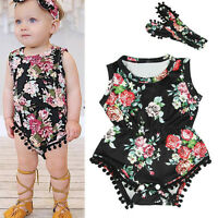 Newborn Baby Girl Romper Jumpsuit Bodysuit Headband Clothes Outfit Playsuit Tops