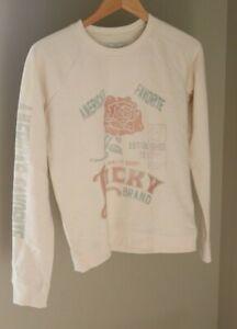 New Lucky Brand Rose Graphic Crew Neck Pullover Sweatshirt XS Cream Fleece