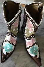 Old Gringo Women's Flowered Brown / Multi Leather Cowboy Boots Size 8