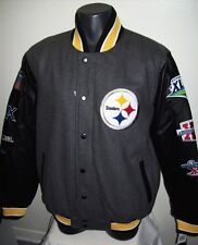 Pittsburgh STEELERS 6 TIME Super Bowl Championship Wool & Leather Jacket MEDIUM