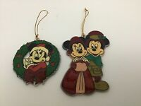 Disney Mickey Minnie Mouse Christmas Ornaments Plastic Lot Of 2