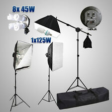 Photo Studio Softbox Continuous 4 Head Bulb Lighting Soft Box Light Stand Kit UK