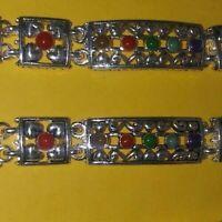 silver tone vintage New filigree flowerish heart raised bracelets