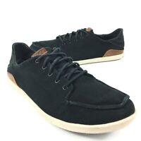 Olukai Ohana Lace Up Black Canvas Casual Shoes Manoa Mens Size 11 10331-40KH