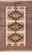"Vintage Geometric 4x6 Kazak Caucasian Russian Oriental Area Rug 6' 5"" x 4' 2"""
