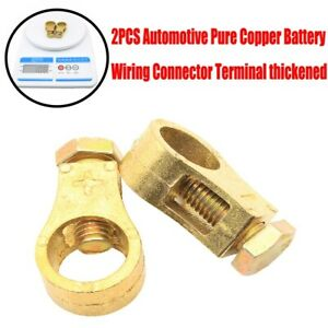 2x Automotive Pure Copper Battery Wiring Connector Terminal Copper Clip Durable
