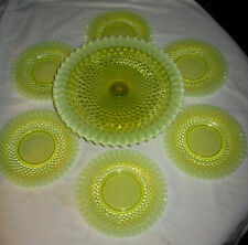 FENTON MINT CONDITION VASELINE TOPAZ ART GLASS CAKE PEDESTAL STAND 6 CAKE PLATE