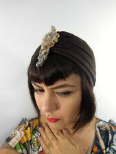 Bonnet turban marron choco bijoux perles au front oriental rétro pinup original