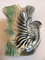 Stewart B McCulloch California Vtg Swan Porcelain Ceramic Swan Vase Gray Green