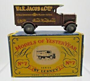 Vtg Matchbox Lesney Models of Yesteryear #7 Y-7 4 Ton Leyland Truck W&R Jacob Co