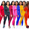 New Women Long Sleeves Hooded Zipper Solid Color Pockets Casual Jumpsuit 2pcs