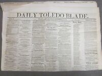 Antique Newspaper    Daily Toledo Blade   Sept 29 1857