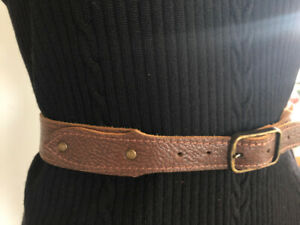 Vintage Leather BELT M Brown Full Grain textured cowhide brass studs