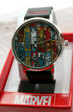Marvel Comics Avengers Illustrated Panel Watch Men's New NOS Box Black Strap