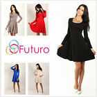 Classic Skater Women's Dress Long Sleeve Scoop Neck Size 8-18 FT2520