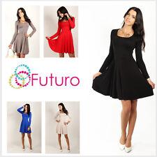Classic Skater Women's Dress Long Sleeve Scoop Neck Size 8-18 FT2520