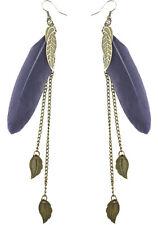 F1935 fashion grey Feather bronze leaf chain light dangle earrings New