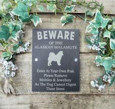 Divertente attenzione al cane ALASKAN Malamut ARDESIA Cancello Porta Placca Firmare