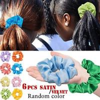 6pcs Hair Scrunchies Ring Elastic Bands Pure Color Velvet Satin Women Hairband