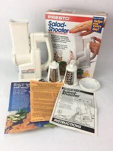 VINTAGE 1988 PRESTO ELECTRIC SALAD SHOOTER MODEL 02910 WITH 2 CONES Tested