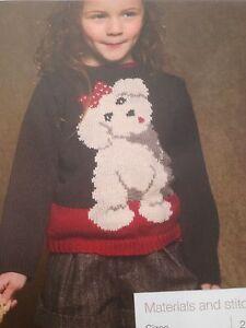 Girls Cute Doggy Motif Sweater Knitting Pattern