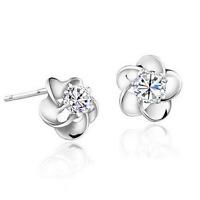Elegant Women Crystal Flower 925 Sterling Silver Plated Ear Stud Earring Jewelry
