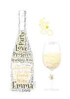 Personalised Prosecco bottle and wine glass  birthday wedding etc word art
