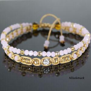 Damen Fußkette Fußband rosa Kristall Perlen mit Zircon Perle verstellbar