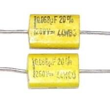 2 Condensateurs MULLARD 341 NEUFS 68nF - 250V - 0.068uF - 68000pF - Chicklet cap