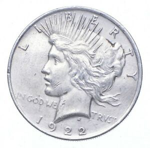 Early - 1922 Peace Silver Dollar - 90% US Coin *375