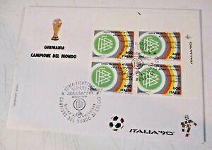 Italie 90 Allemagne Campione Quatre Avec Ciao Sur FDC - Rome Philatélique