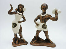 Vtg Treasure Craft of Hawaii Tiki Hula Dancers Hawaiiana Figurines (Set of 2)