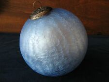 "Jumbo crackle glass, light blue, kugel style, ornament, 6"", very good condition!"