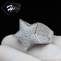 MEN 925 STERLING SILVER LAB DIAMOND ICED OUT BLING 3D STAR RING*SR107