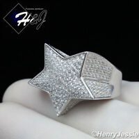 MEN 925 STERLING SILVER LAB DIAMOND BLING 3D STAR RING*SR107