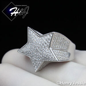 MEN 925 STERLING SILVER ICY DIAMOND BLING 3D STAR RING*SR107