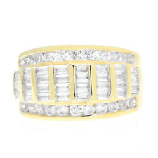 Mens 10K Yellow Gold Finish Round & Baguette Cut Ring Wedding Band 2.00 Ct Thick