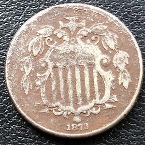 1873 Shield Nickel 5c Higher Grade VF #28843