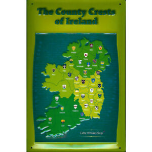 THE COUNTY CRESTS OF IRELAND: EMBOSSED 3D METAL  SIGN 30x20cm MAP
