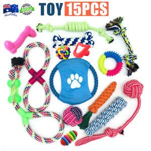 15x Dog Rope Toys Kit Tough Strong Chew Knot Ball Pet Puppy Bear Cotton Toy Bulk