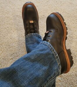 Men's Black Leather Chippewa Motorcycle Super Logger Work Lace Up Boots 12 E