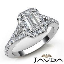 1.23ctw Halo U Pave Stone Emerald Diamond Engagement Ring GIA H-SI1 White Gold