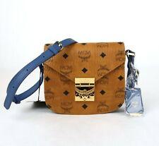 MCM Cognac Coated Canvas Mini Crossbody Bag w/Blue Leather Trim MWS8AXL73CE001