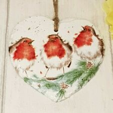Robins Hanging Plaque Slate Heart Wall Sign 11x11cm  Wrendale Design