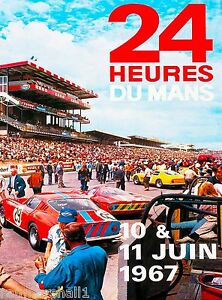 1967 24 Hours Le Mans French Automobile Race Advertisement Vintage Poster 3