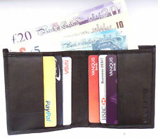RFID Bifold credit card leather wallet with Note section Slim Thin Mini Black